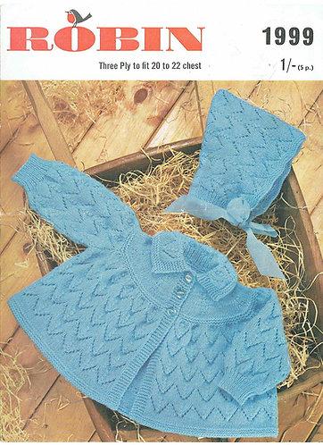 1999R baby matinee coat set vintage knitting pattern  PDF Download