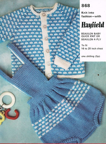 868H baby romper suit set vintage knitting pattern  PDF Download
