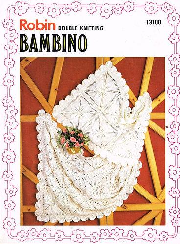 13100R baby pram blanket vintage knitting pattern  PDF Download