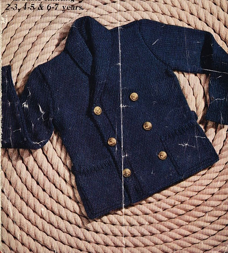 261M children cardigan coat vintage knitting pattern PDF Download