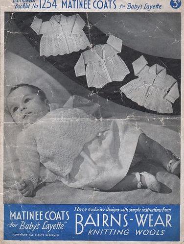 Bairnswear 1254 baby vintage knitting pattern PDF