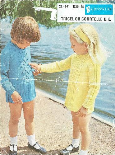 1730 girls dress vintage knitting pattern PDF Download