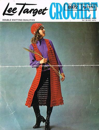 8972Lt ladies waistcoat and beanie set vintage crochet pattern  PDF Download