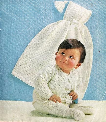 1042M baby cape onesie matinee coat vintage knitting pattern PDF Download