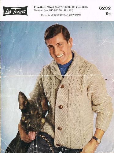 6232Lt mens cardigan vintage knitting pattern  PDF download