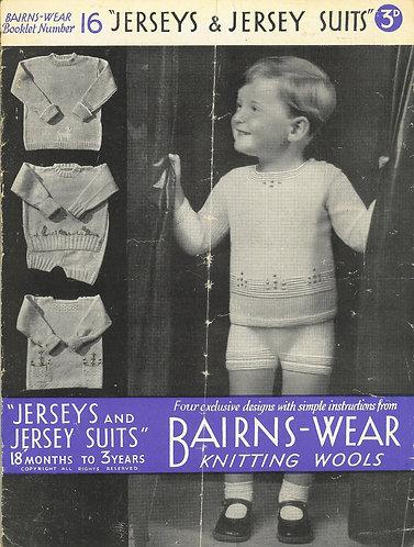 Bairnswear 16 baby vintage knitting pattern PDF