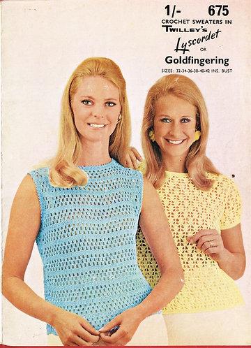 675T ladies summer top vintage crochet pattern  PDF Download