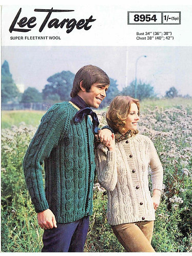8954Lt ladies mens cardigan vintage knitting pattern  PDF Download