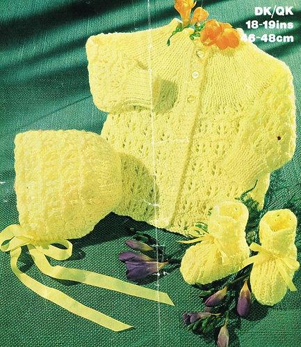 1699M baby matinee coat set vintage knitting pattern  PDF Download
