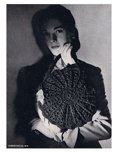 4818 ladies round vintage crochet bag pattern PDF Download
