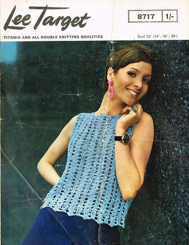 8717Lt ladies summer top vintage crochet pattern  PDF Download