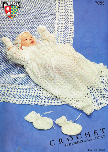 7085T baby christening dress set vintage crochet pattern  PDF Download