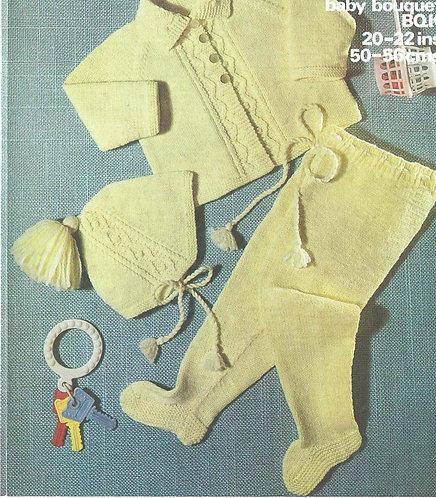 1613M baby pram suit vintage knitting pattern  PDF Download
