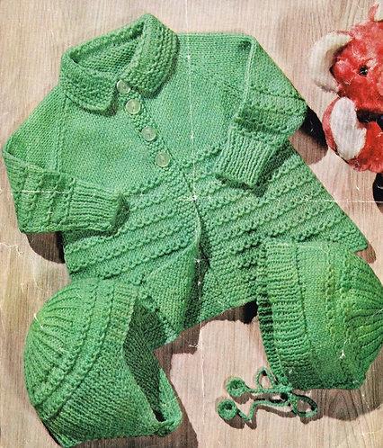 652M baby pram suit vintage knitting pattern  PDF Download
