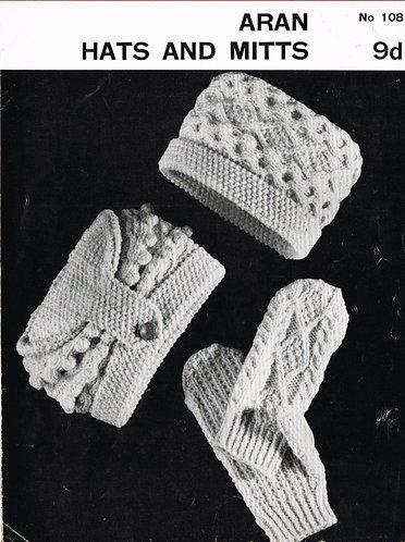 Aran 108 hat set vintage knitting pattern PDF