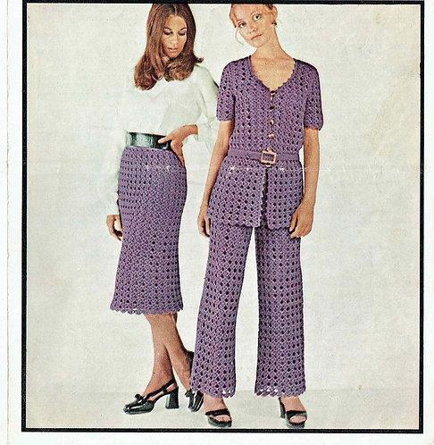 5100T ladies skirt and trouser suit vintage crochet pattern  PDF Download