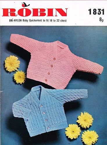 1831R baby cardigan vintage knitting pattern  PDF Download
