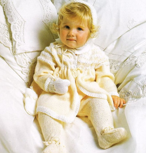 2277H baby pram suit vintage knitting pattern  PDF Download