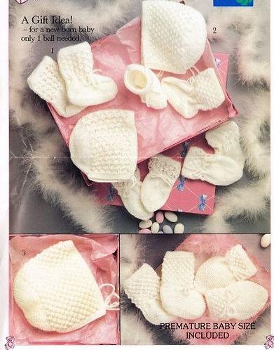 8761P baby hats vintage knitting pattern  PDF Download