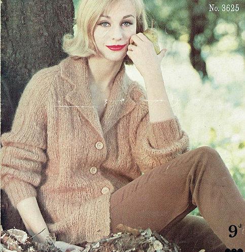 3625 ladies cardigan Vintage knitting pattern  PDF Download