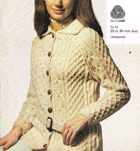 659H ladies cardigan Vintage knitting pattern  PDF Download
