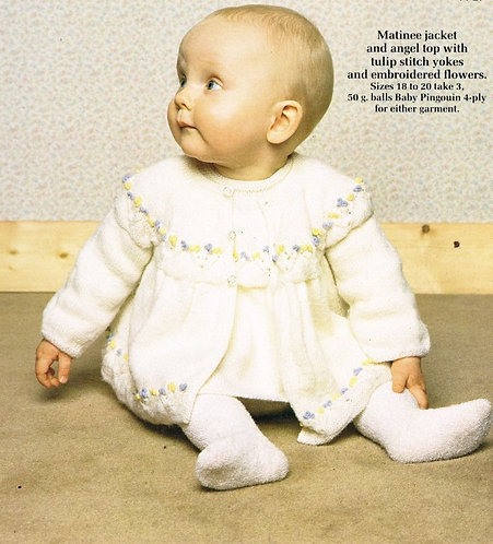 8224P baby matinee coat set vintage knitting pattern  PDF Download