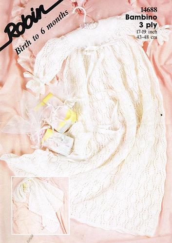14688R baby christening dress vintage knitting pattern  PDF Download