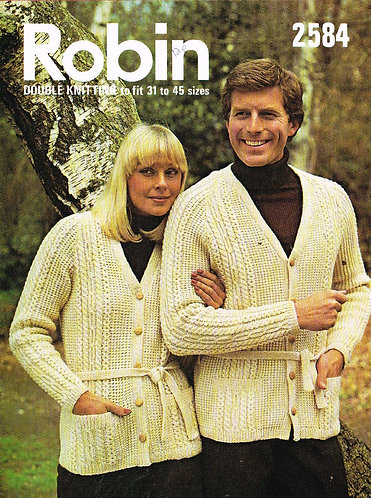 2584R ladies mens cardigan vintage knitting pattern  PDF Download