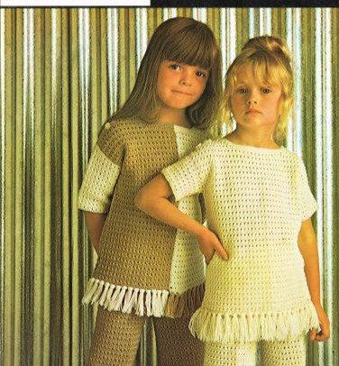 5123T girls trouser suit vintage crochet pattern  PDF Download