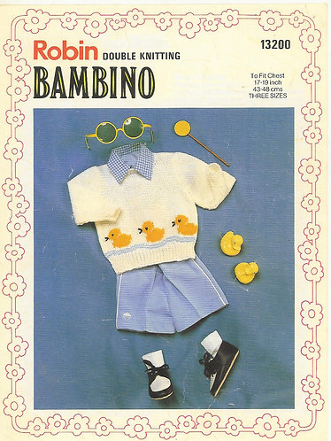 13200R baby duck jumper vintage knitting pattern  PDF Download