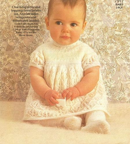 7917P baby dress set vintage knitting pattern  PDF Download
