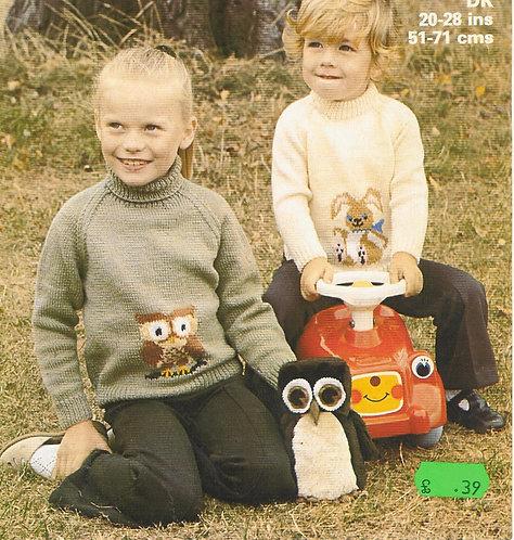 1799M childrens picture jumper vintage knitting pattern  PDF Download