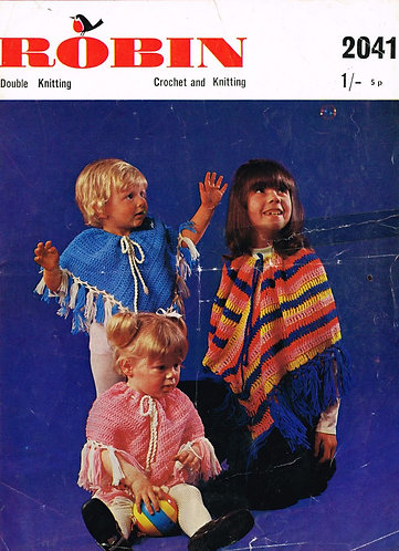 2041R small child poncho vintage crochet pattern  PDF Download