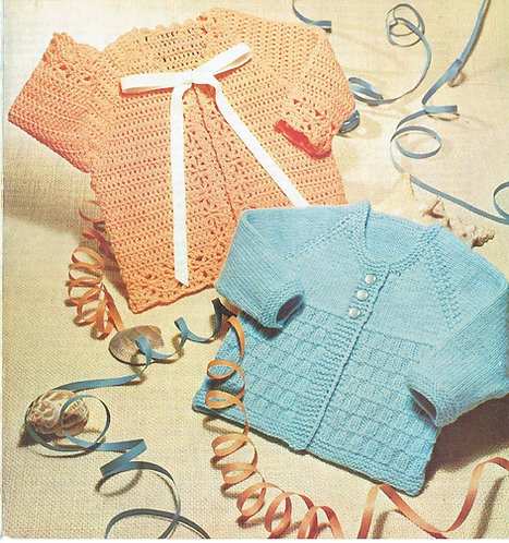 1411M baby matinee coat vintage knitting crochet pattern PDF Download