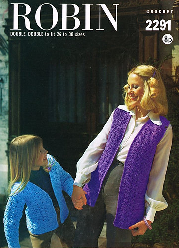 2291R mother daughter cardigan waistcoat vintage crochet pattern  PDF Download