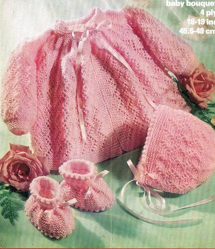 1647M baby matinee coat set vintage knitting pattern  PDF Download