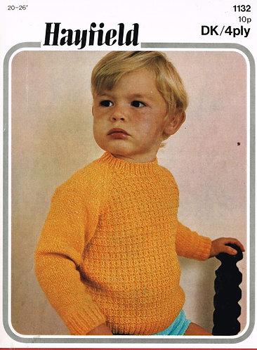 1132H baby jumper vintage knitting pattern  PDF Download