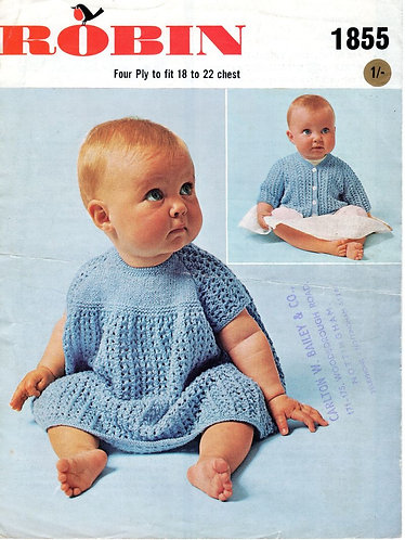 1855R baby dress and cardigan vintage knitting pattern  PDF Download