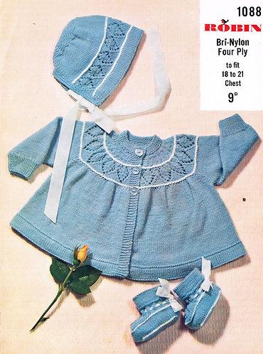 1088R baby matinee coat set vintage knitting pattern  PDF Download