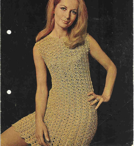 788T ladies dress vintage crochet pattern  PDF Download