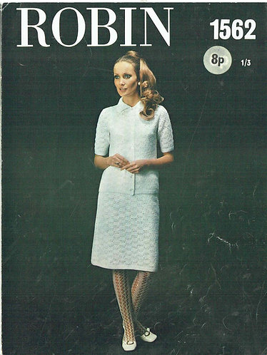 1562R ladies suit vintage crochet pattern  PDF Download
