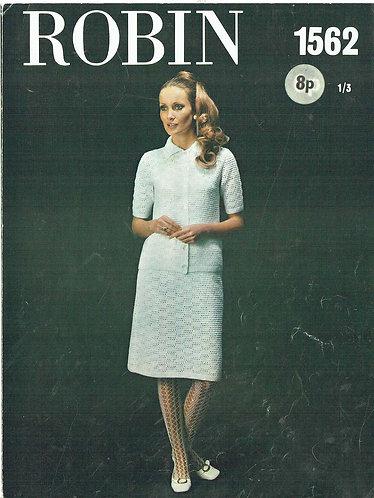 1562R ladies suit vintage crochet pattern  PDF Download