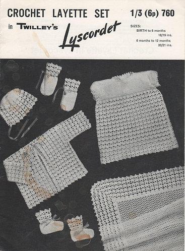760T baby layette vintage crochet pattern  PDF Download