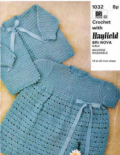 1032H baby dress and coat vintage crochet pattern  PDF Download