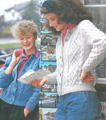 4068 ladies girls aran cardigan vintage knitting pattern PDF