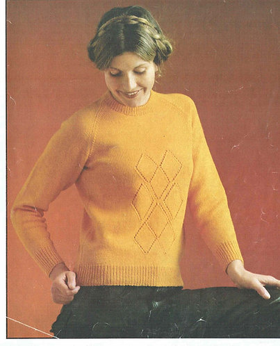 1555 ladies jumper Vintage knitting pattern  PDF Download