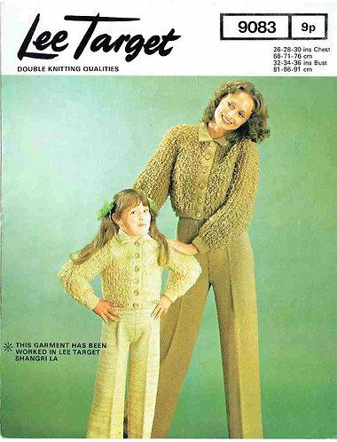 9083Lt mother daughter loopy cardigan vintage knitting pattern  PDF Download