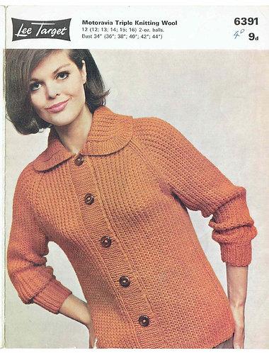 6391Lt ladies cardigan vintage knitting pattern  PDF download