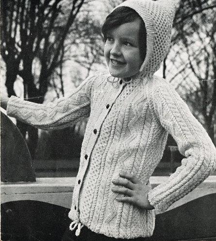 1535 childrens aran hoodie cardigan Vintage knitting pattern  PDF Download