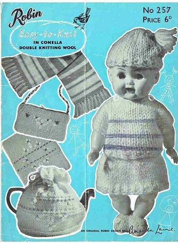 257R dolls clothes novelties vintage knitting pattern  PDF Download